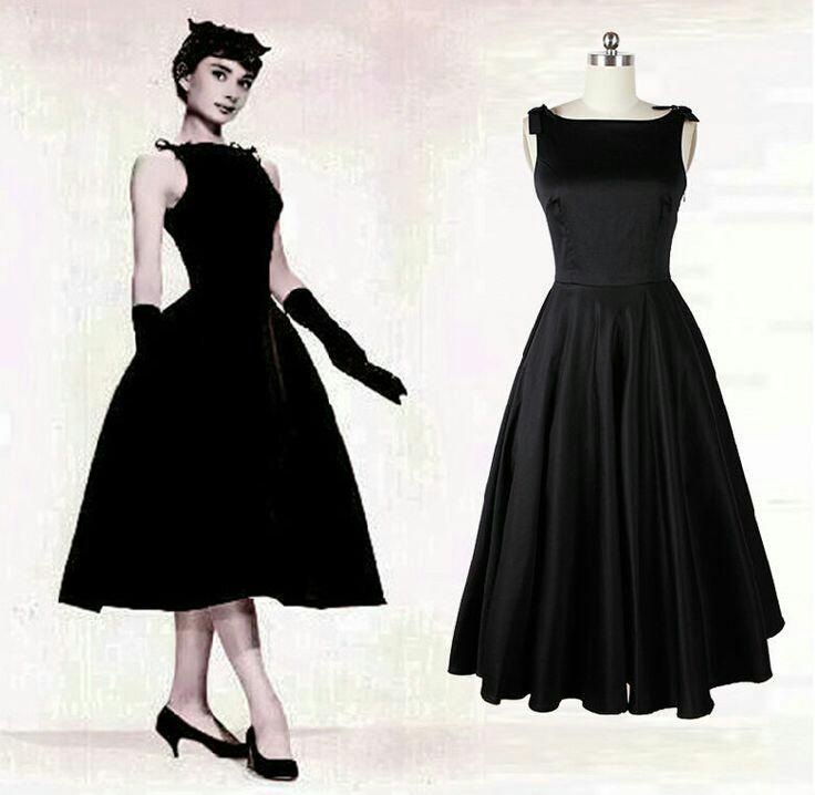 model dress selutut cantik lengan pendek Audrey Hepburn